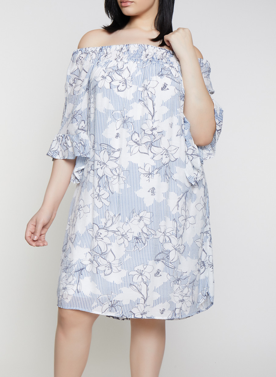 Plus Size Bell Sleeve Floral Off the Shoulder Dress