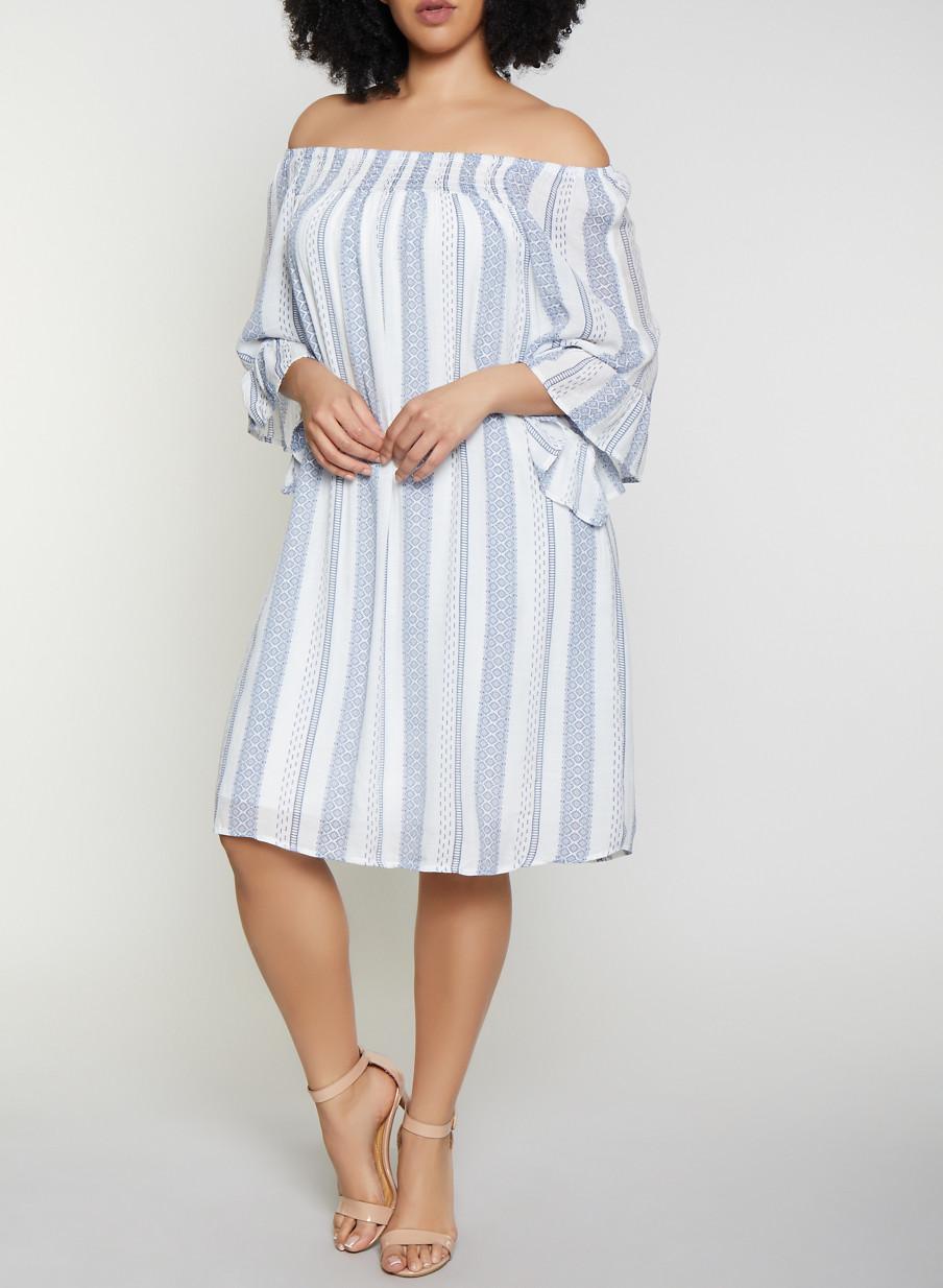 Plus Size Smocked Neck Striped Dress - Rainbow