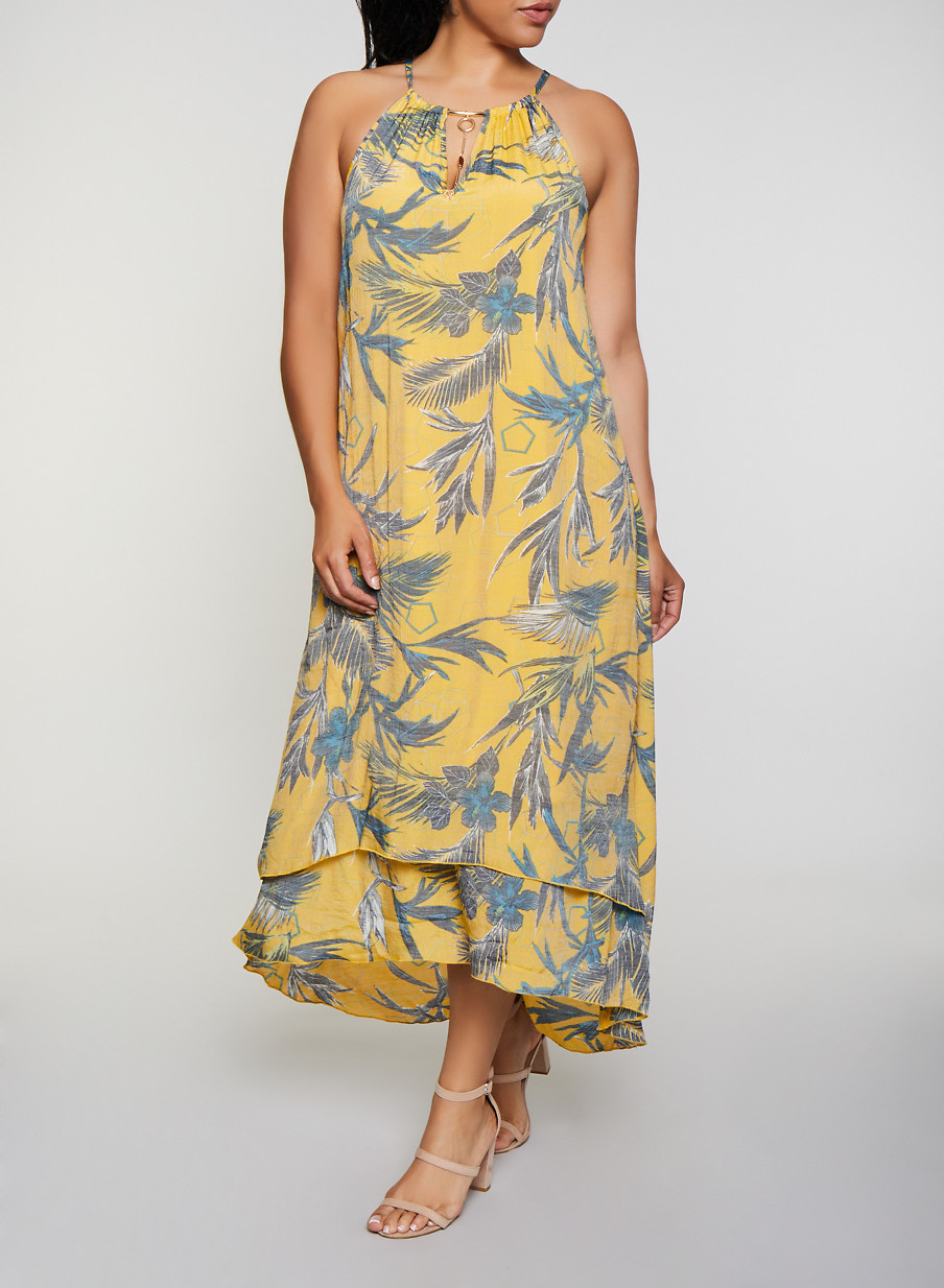 Plus Size Tropical Print Tiered Maxi Dress