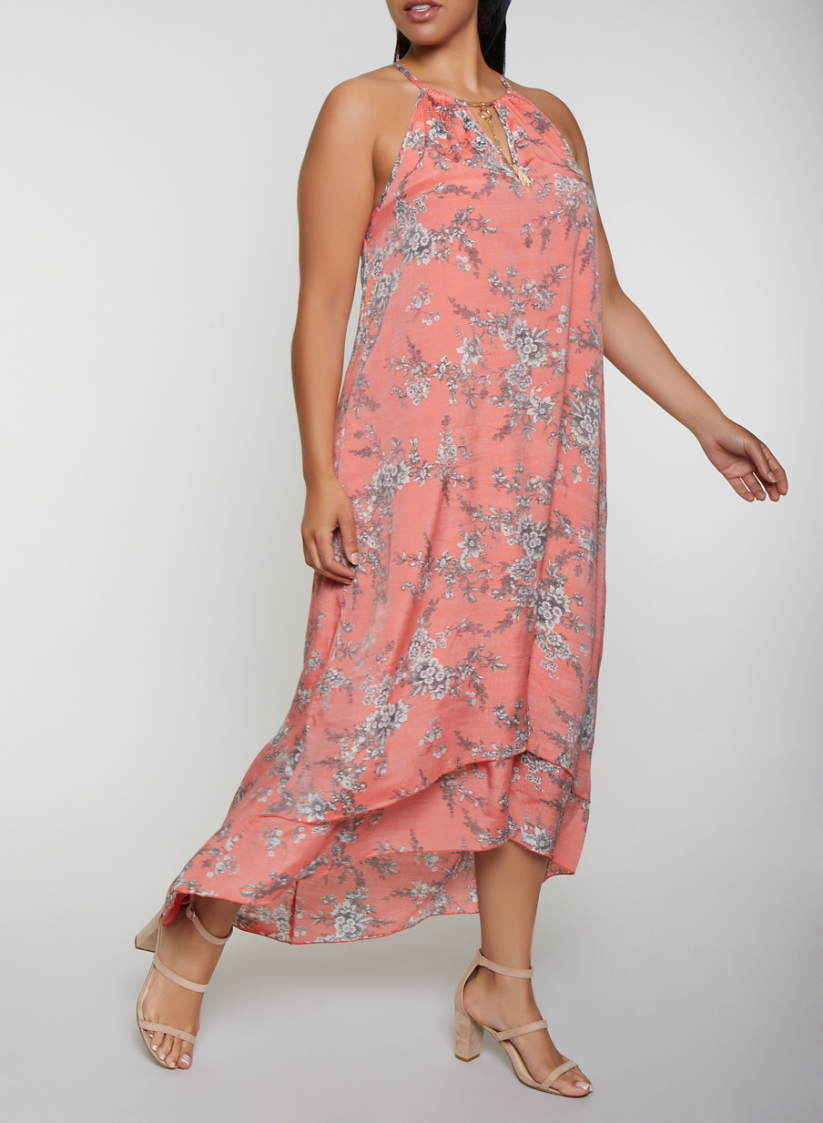 Plus Size Tiered Floral Maxi Dress
