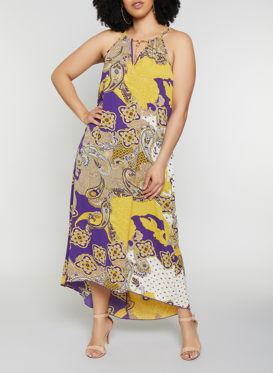 Plus Size Printed Metallic Keyhole Maxi Dress - Rainbow