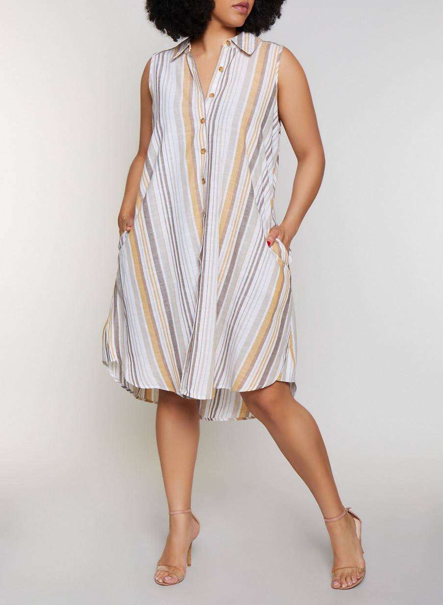 ce42ac757 Plus Size Striped Sleeveless Shirt Dress - Rainbow
