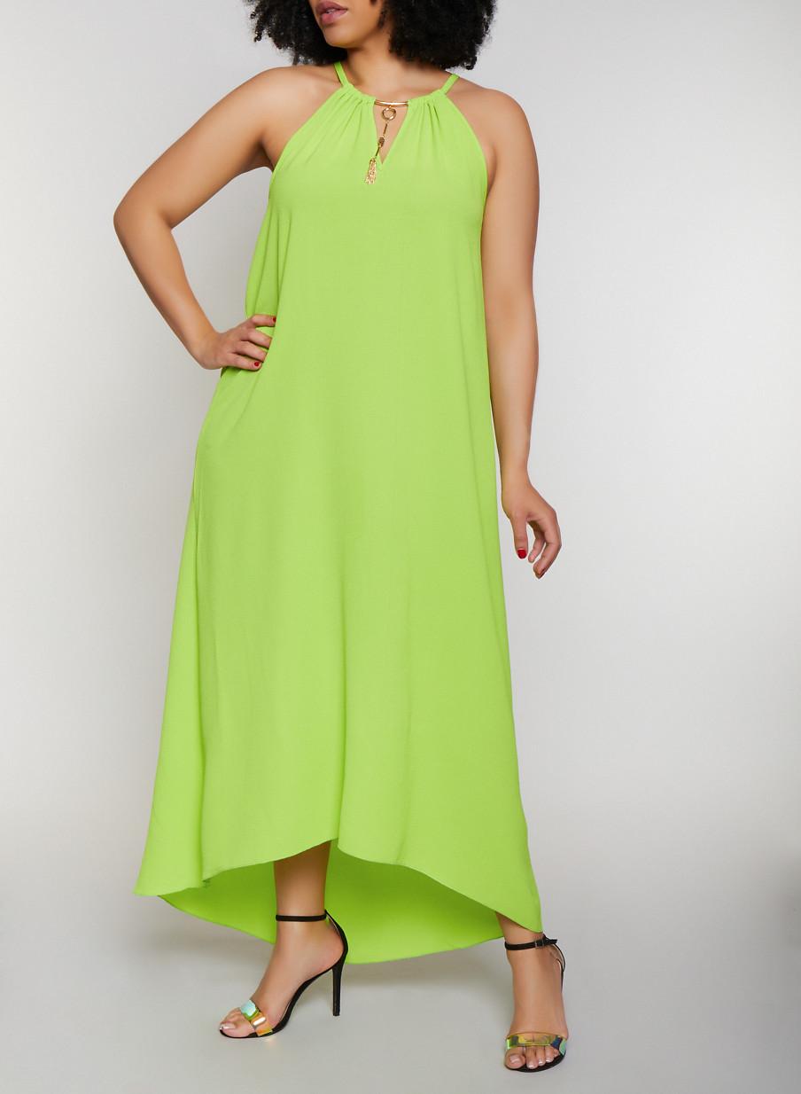 Plus Size Metallic Neckline Maxi Dress - Rainbow