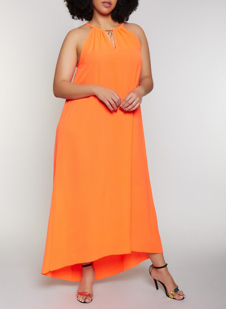 Plus Size Neon Crepe Knit Maxi Dress - Rainbow