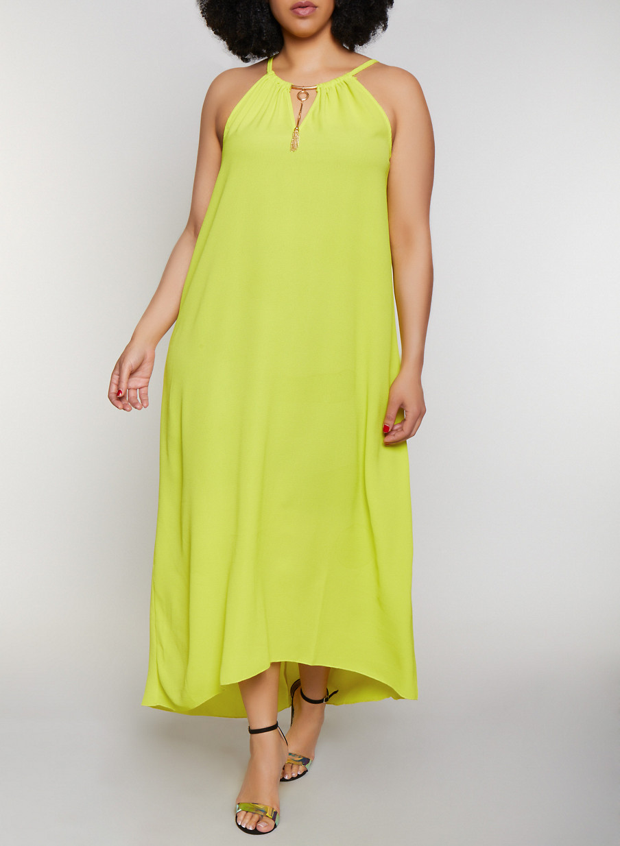 Plus Size Neon Sleeveless Metallic Keyhole Maxi Dress