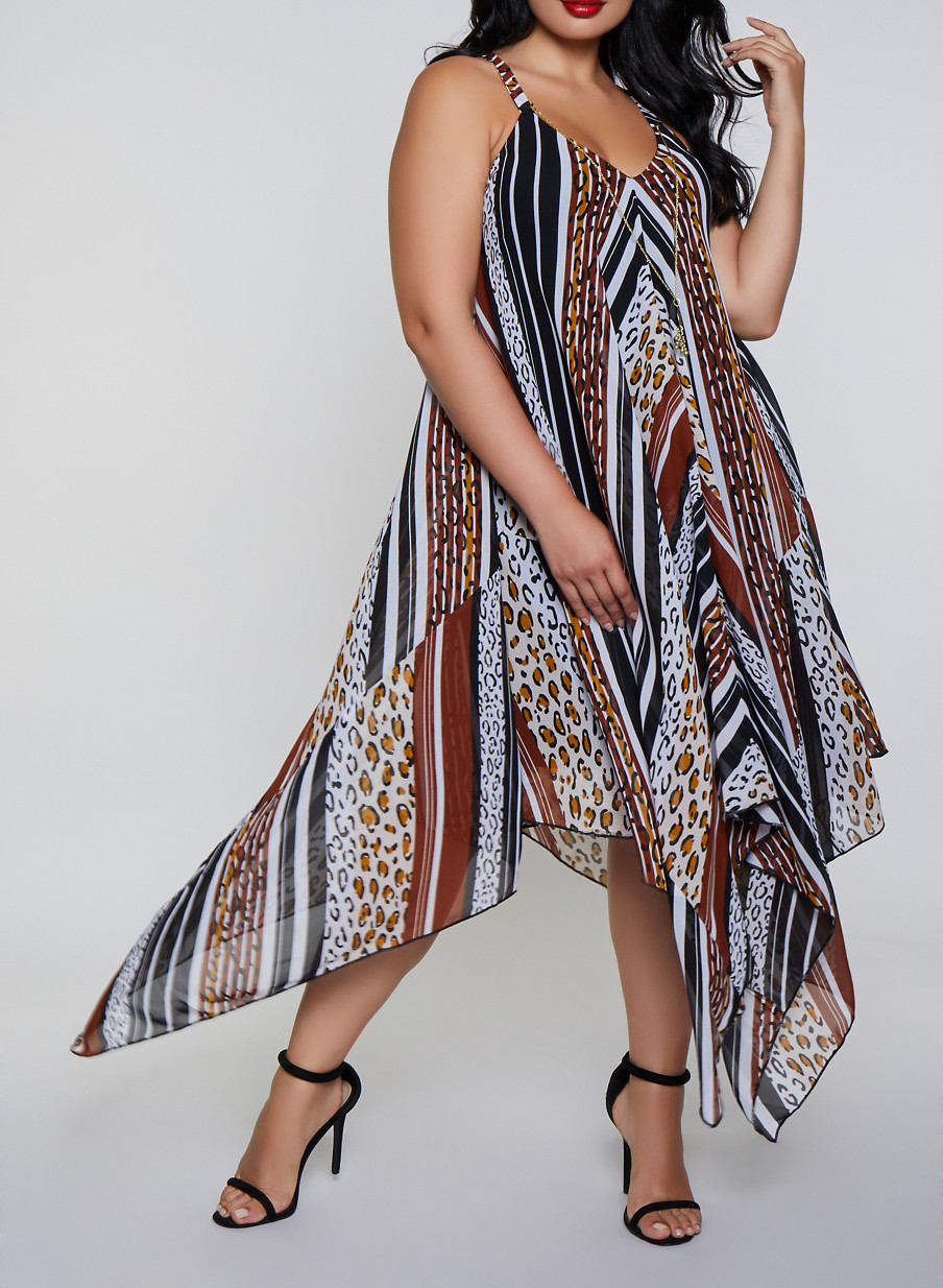 Plus Size Animal Print Asymmetrical Dress with Necklace