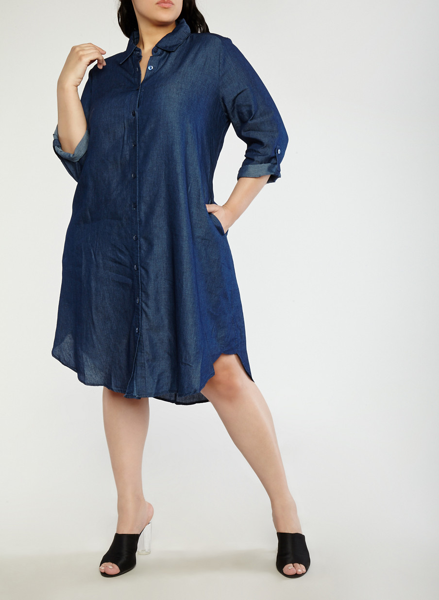 Plus Size Chambray Shirt Dress With Sleeves Rainbow