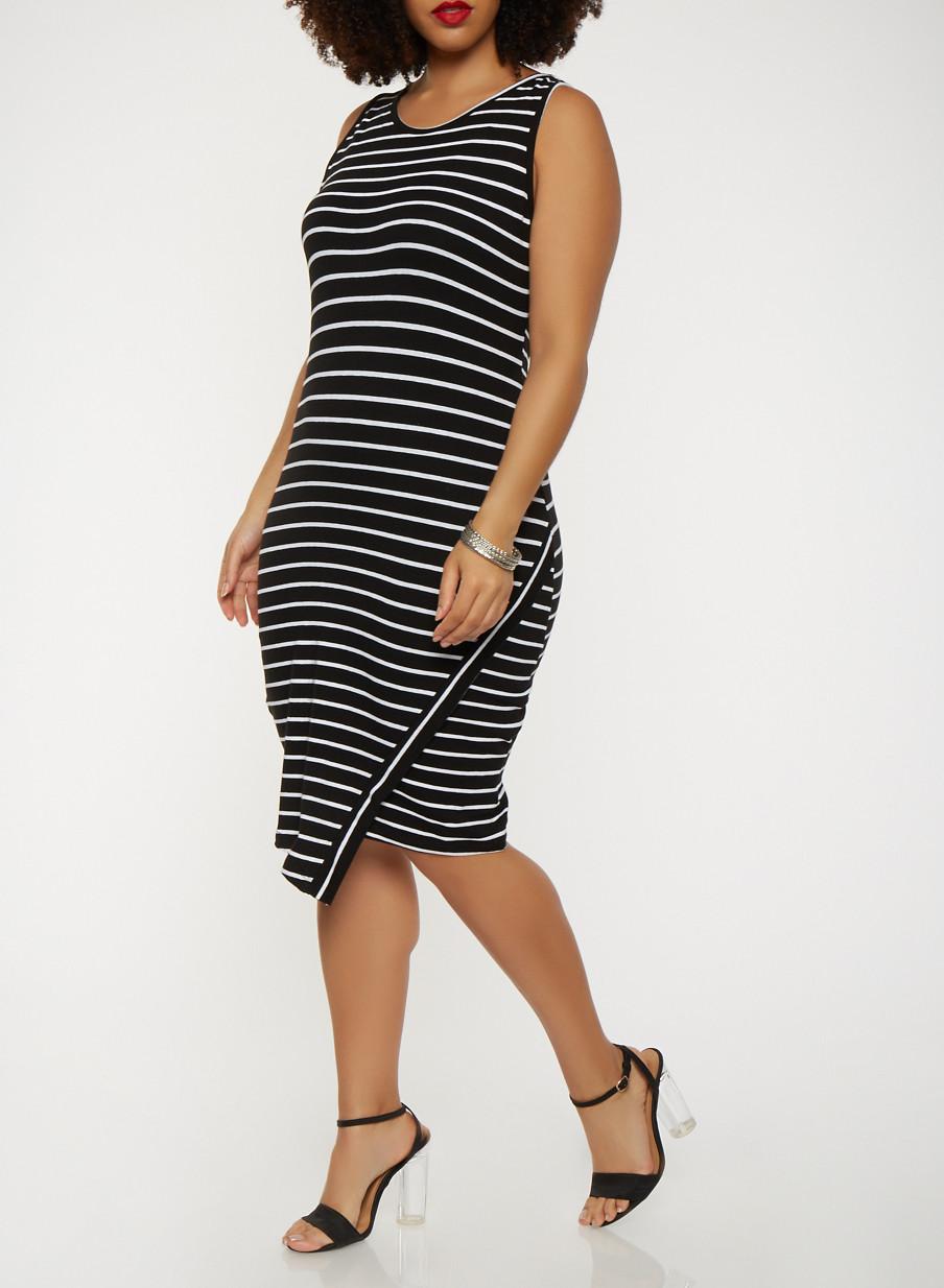 Plus Size Striped Tank Dress Rainbow