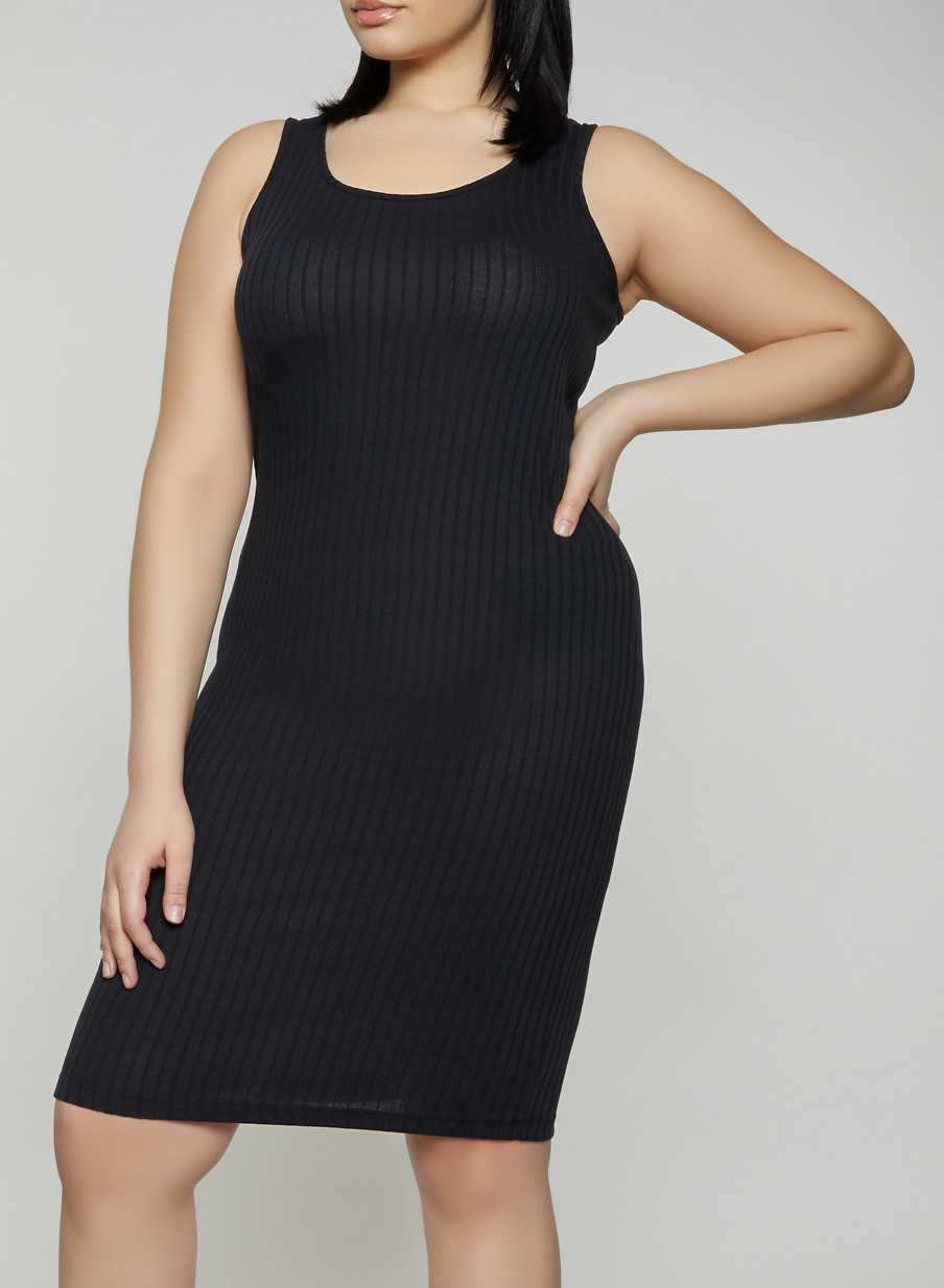 ea8c3b51e11 Plus Size Ribbed Knit Tank Dress