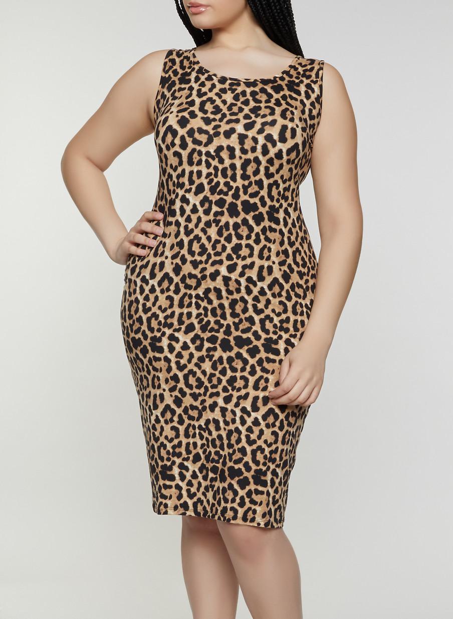 0b3880289c Plus Size Leopard Tank Dress