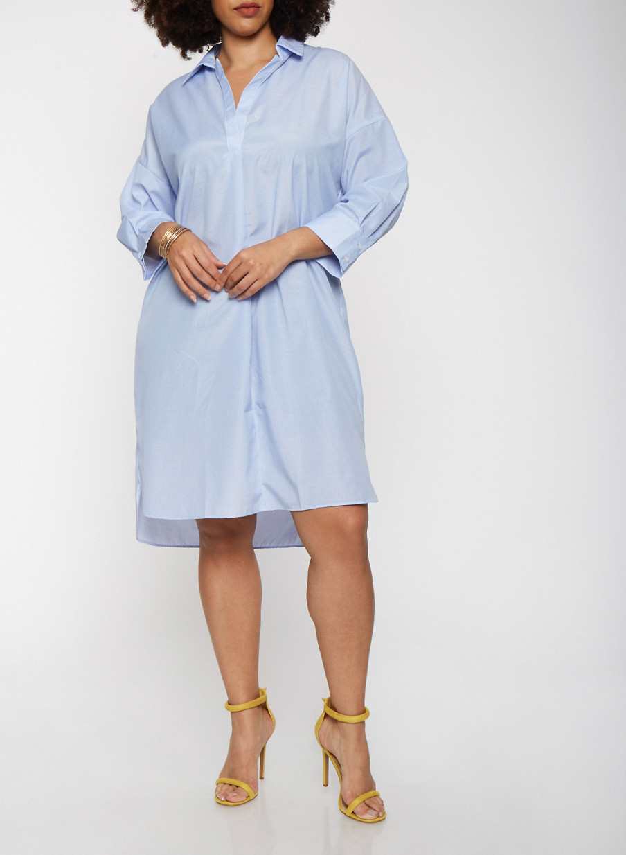 Plus Size Striped Shirt Dress With Sleeves Rainbow
