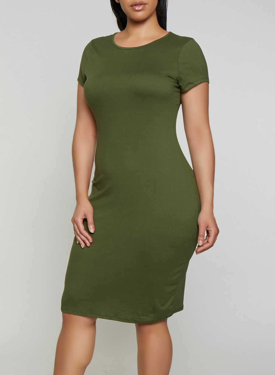 Plus Size Soft Knit Bodycon T Shirt Dress
