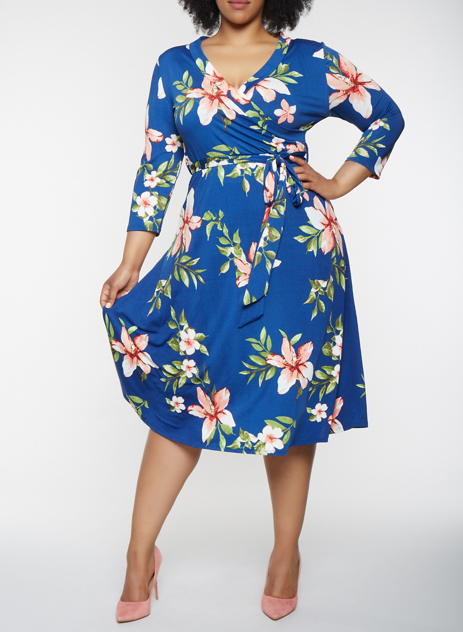 Plus Size Floral Faux Wrap Midi Dress With Sleeves Rainbow