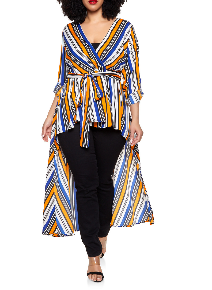 fd0a09dbac9e3d Plus Size Striped High Low Wrap Top - Rainbow