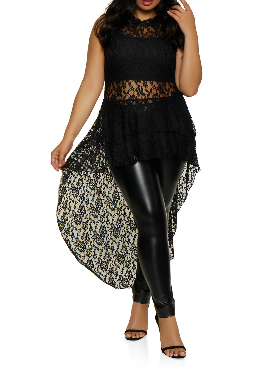 Plus Size Tiered Lace High Low Top