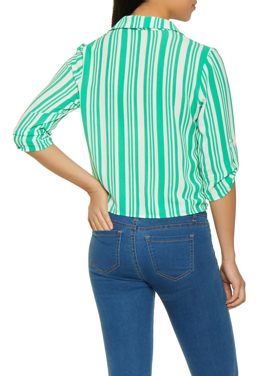 43040e3ea6918 Striped Tie Front Blouse - Rainbow