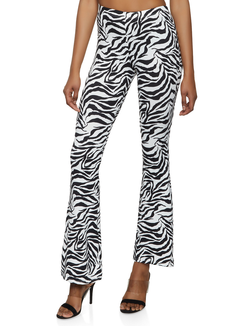 58316b8e10c7c5 Soft Knit Zebra Print Flared Pants - Rainbow