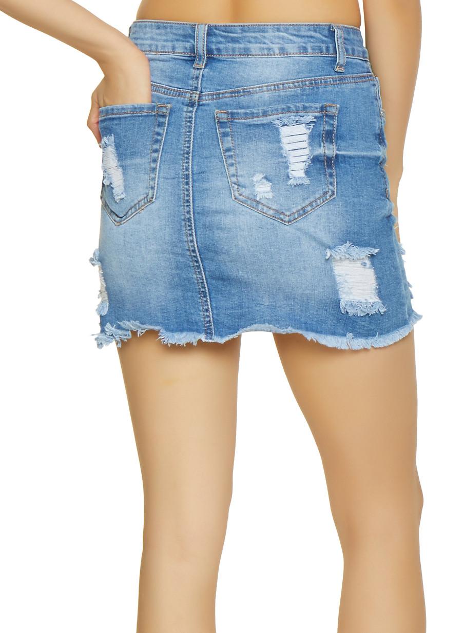 dfb95843e WAX Frayed Denim Mini Skirt - Rainbow
