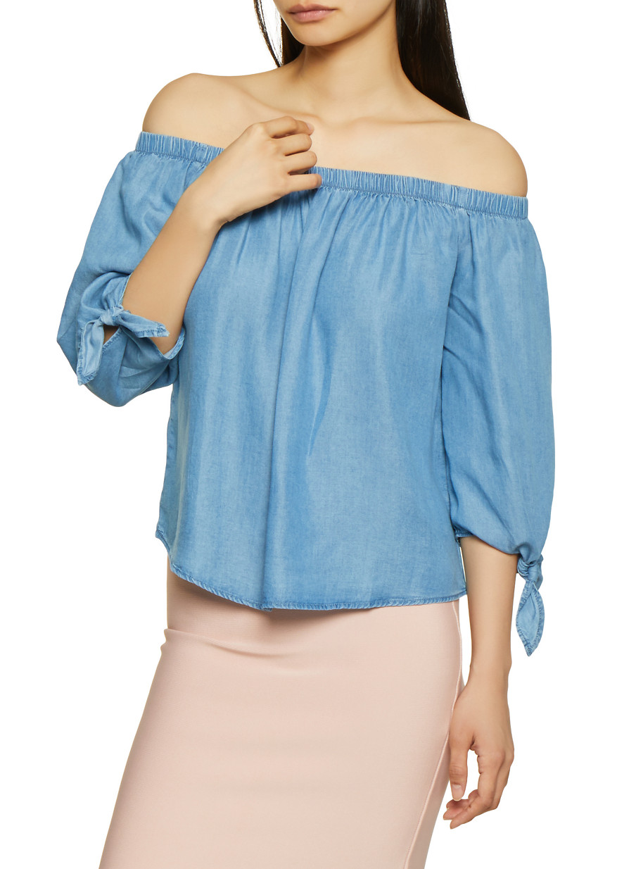 d36bf6d687753c Chambray Off the Shoulder Tie Sleeve Top - Rainbow
