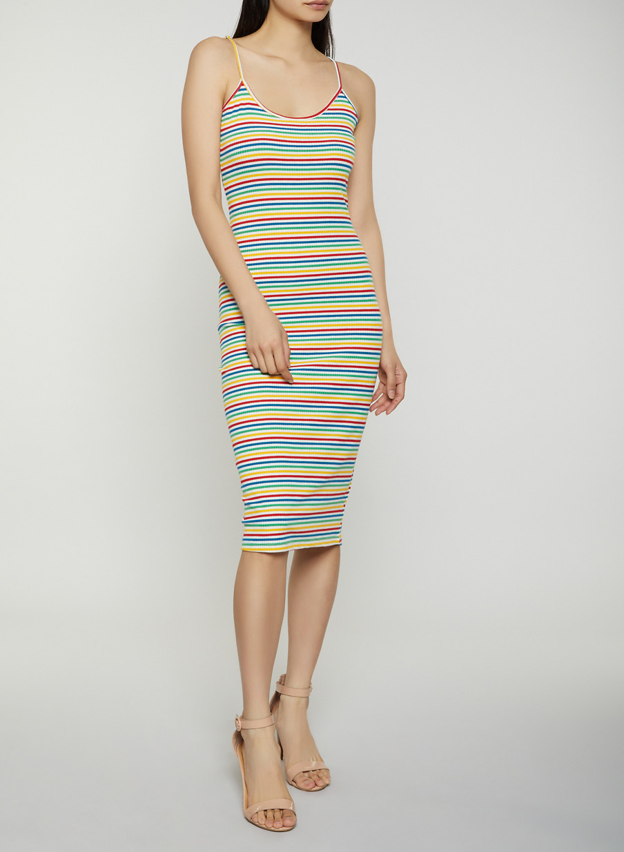 112ece2b89 Rainbow Striped Cami Dress - Rainbow