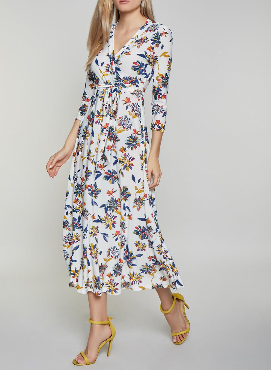eb451d5e9b Tie Waist Floral Faux Wrap Maxi Dress - Rainbow
