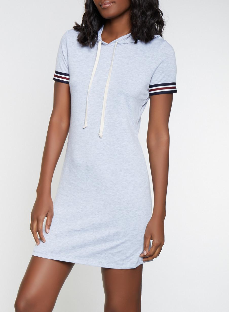 Striped Tape Trim T Shirt Dress - Rainbow 02635c61d