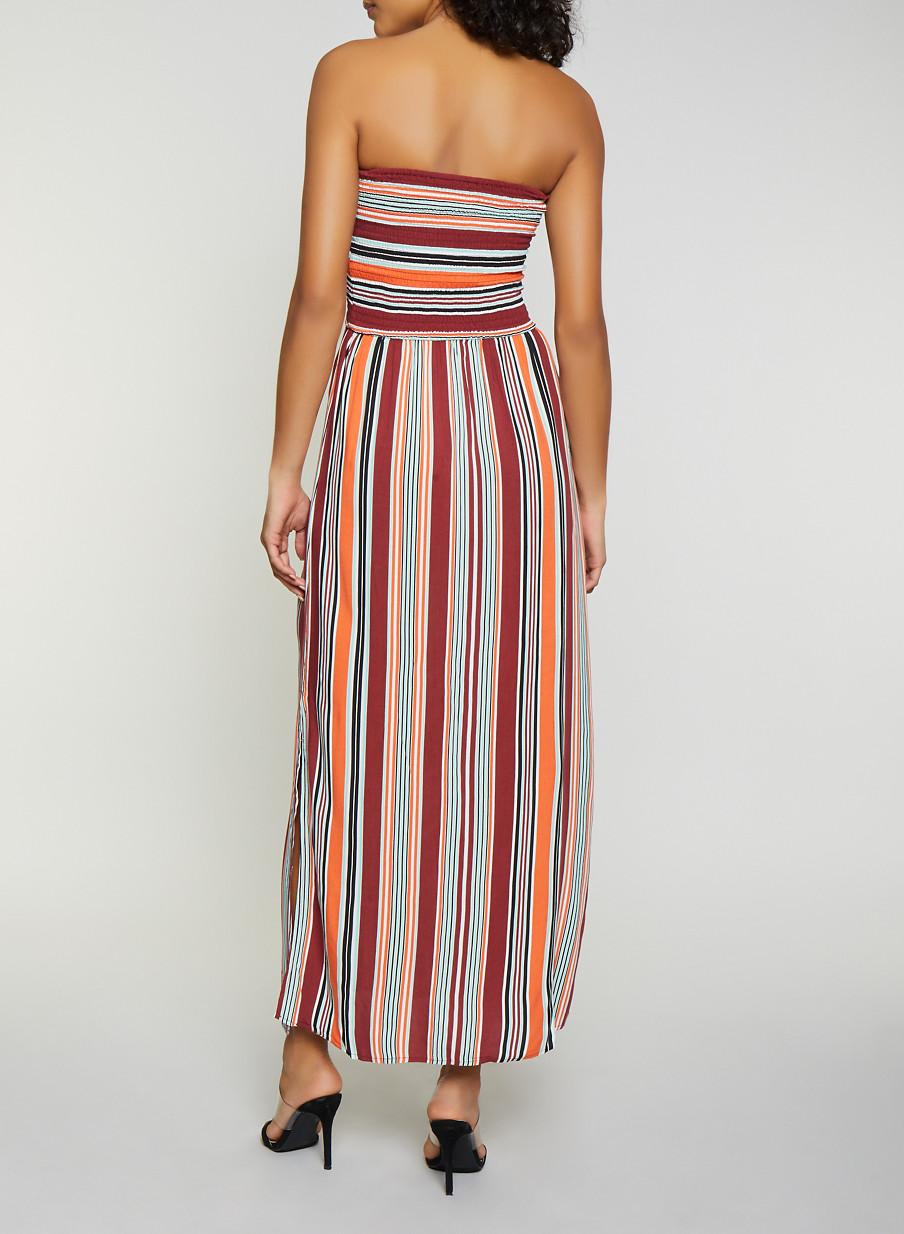 e656193dd15 Striped Smocked Tube Maxi Dress