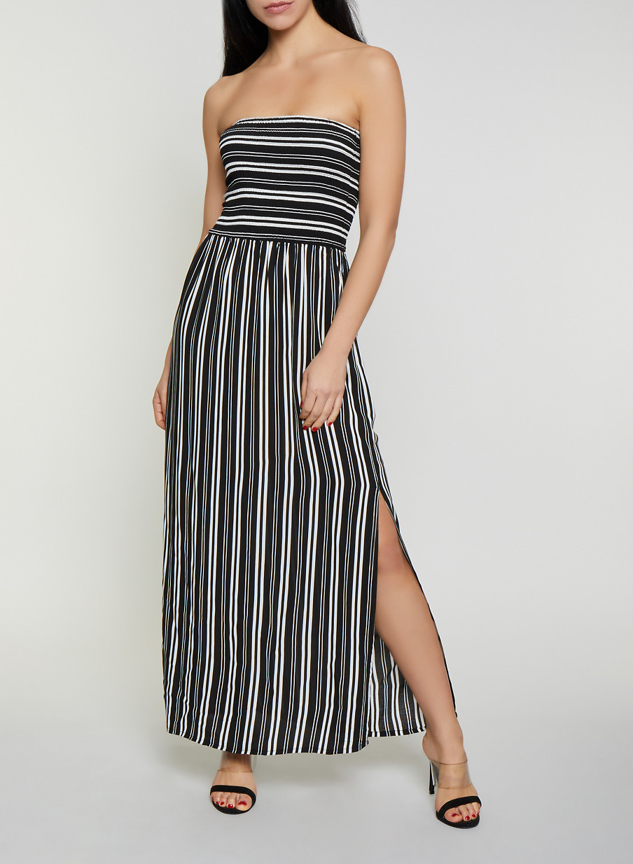 5e703e63d2f Striped Smocked Tube Maxi Dress - Rainbow