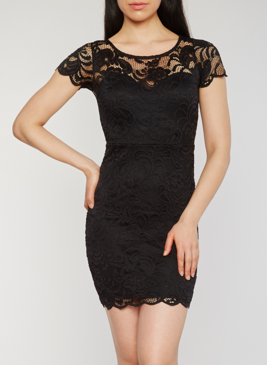 Solid Lace Short Sleeve Cocktail Dress - Rainbow