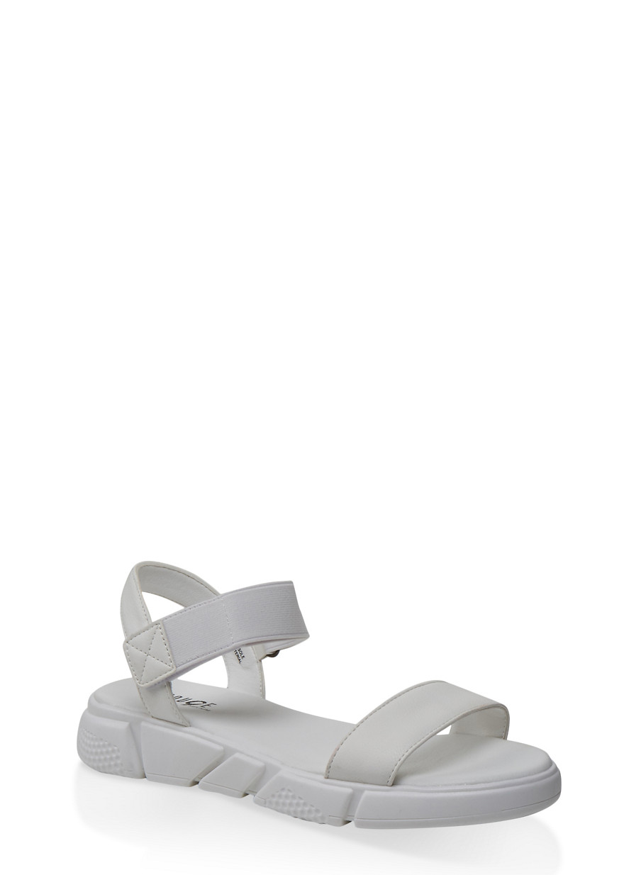 One Band Sporty Velcro Ankle Strap Sandals