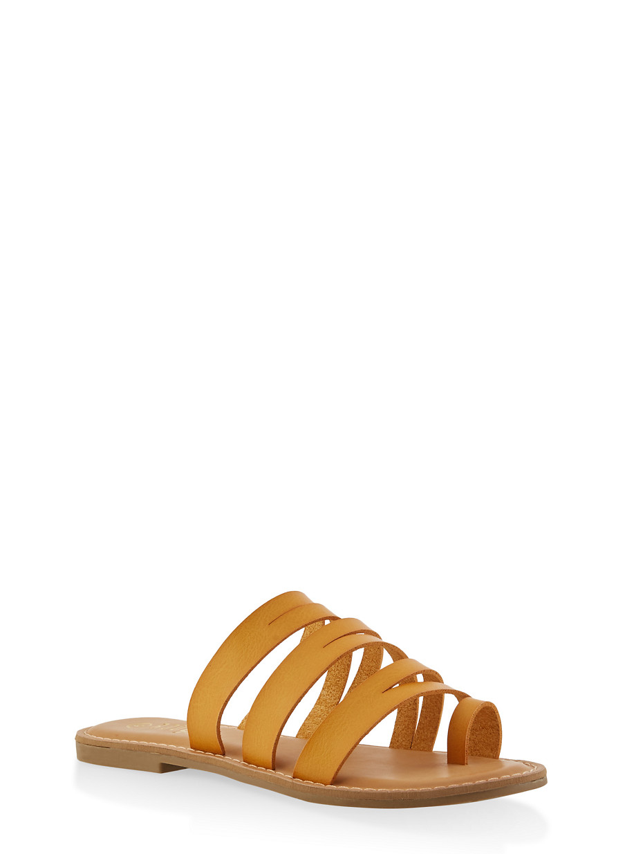 475c72d57 Strappy Toe Ring Slide Sandals - Rainbow