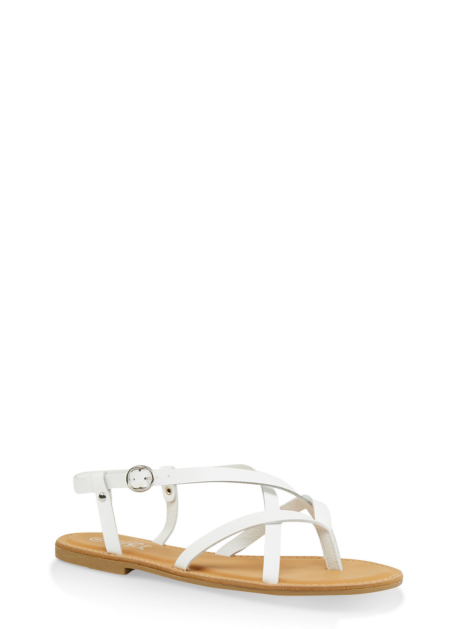 f2482e38e57 Strappy Faux Leather Thong Sandals - Rainbow