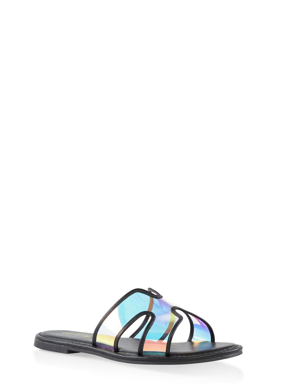 0d5cd942b47 Iridescent Slide Sandals - Rainbow