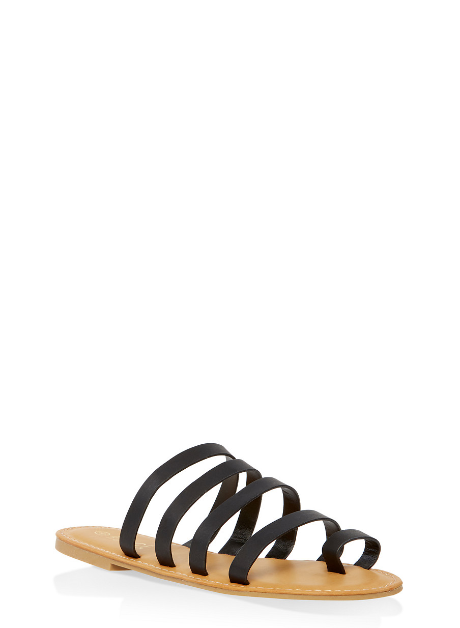 8fd46fea7 Strappy Toe Ring Slide Sandals