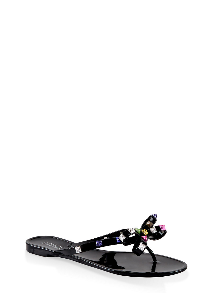 Studded Bow Thong Jelly Flip Flops