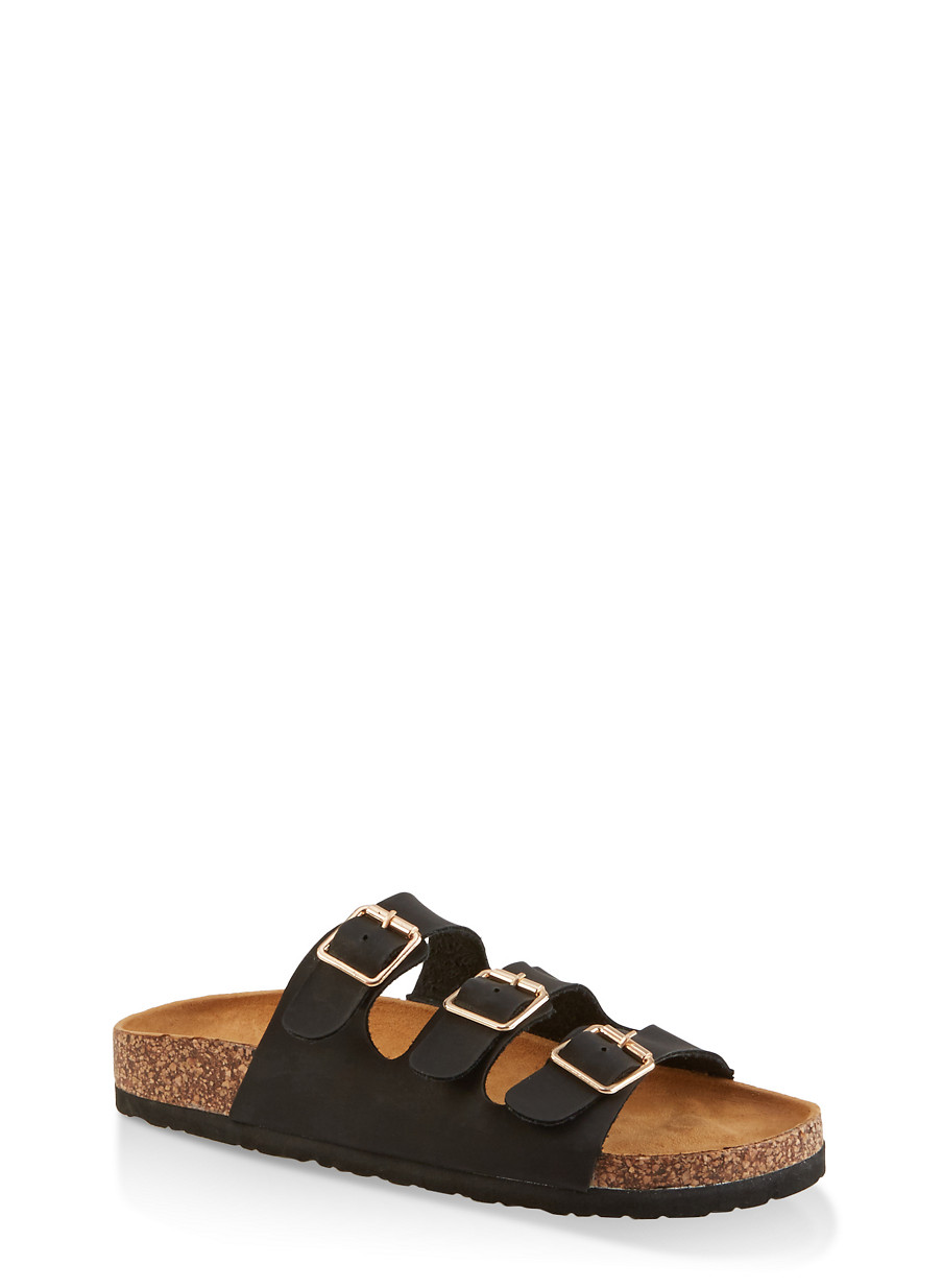Sole Triple Footbed Buckle Cork Sandals 0PkX8wnO