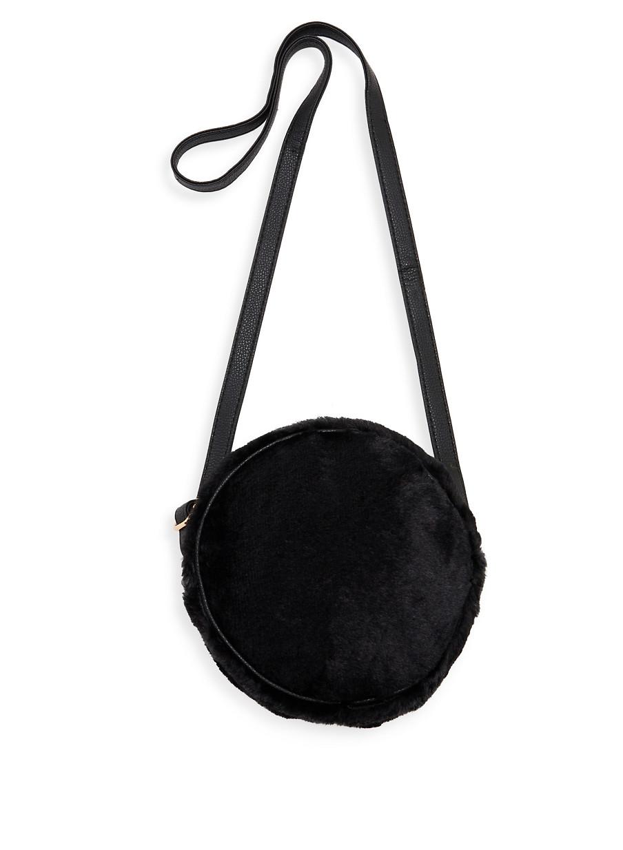 Pinterest Share Product Round Faux Fur Crossbody Bag Black Large