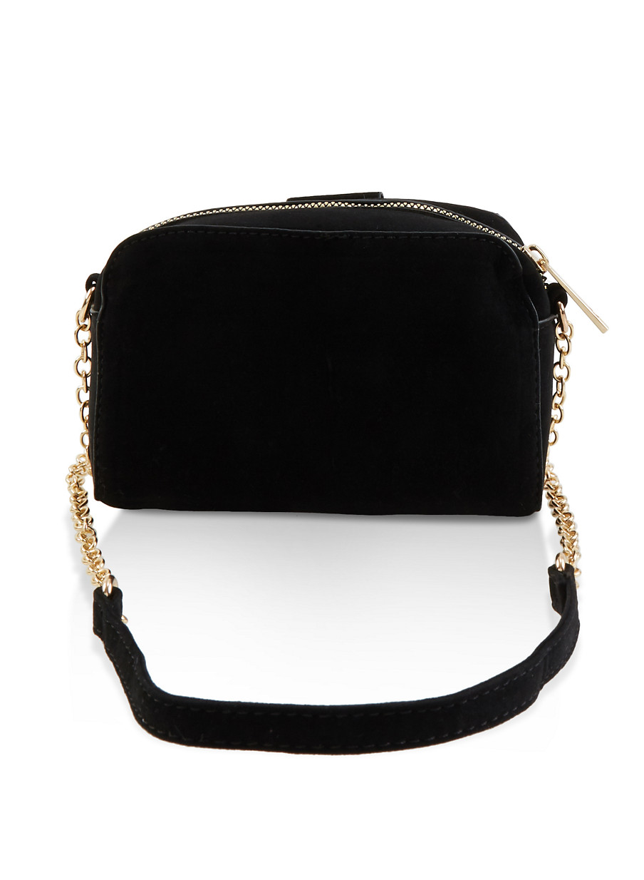 Pinterest Share Product Small Faux Suede Crossbody Bag Black Large