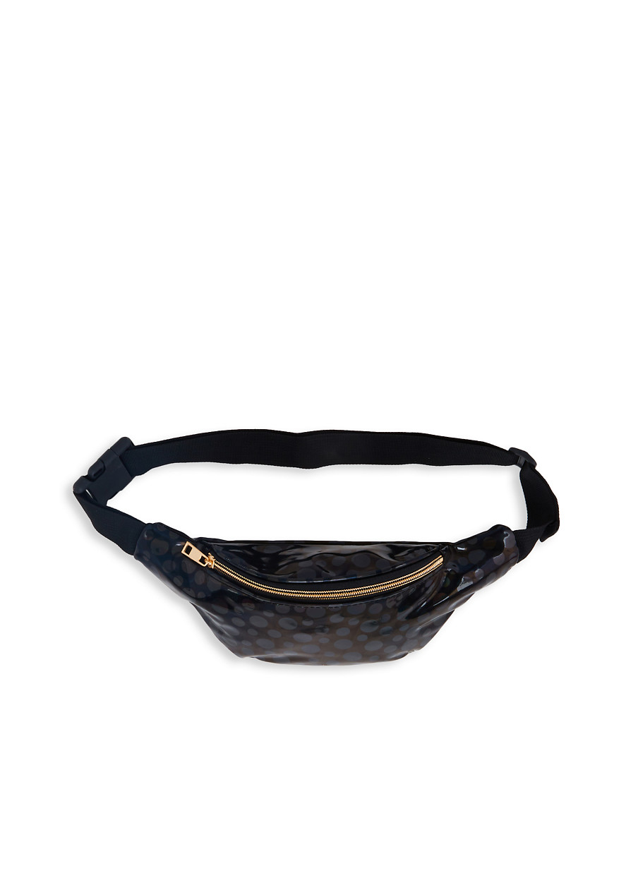 0f1eec9df6db Polka Dot Faux Leather Fanny Pack - Rainbow