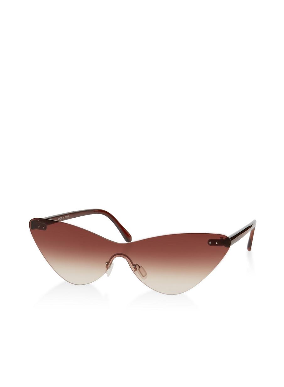90e11725f Cat Eye Rimless Shield Sunglasses - Rainbow