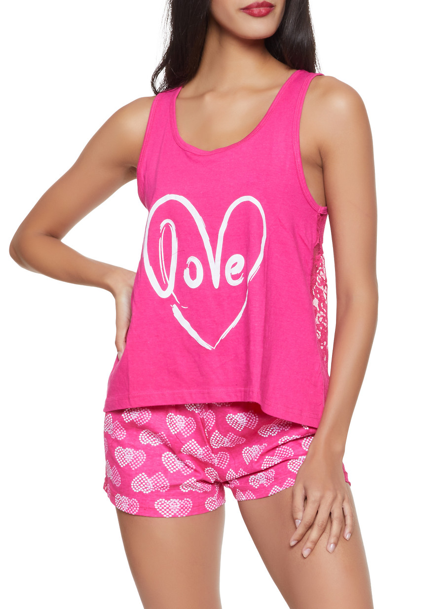4b159da01c733f Love Lace Pajama Tank Top and Shorts - Rainbow