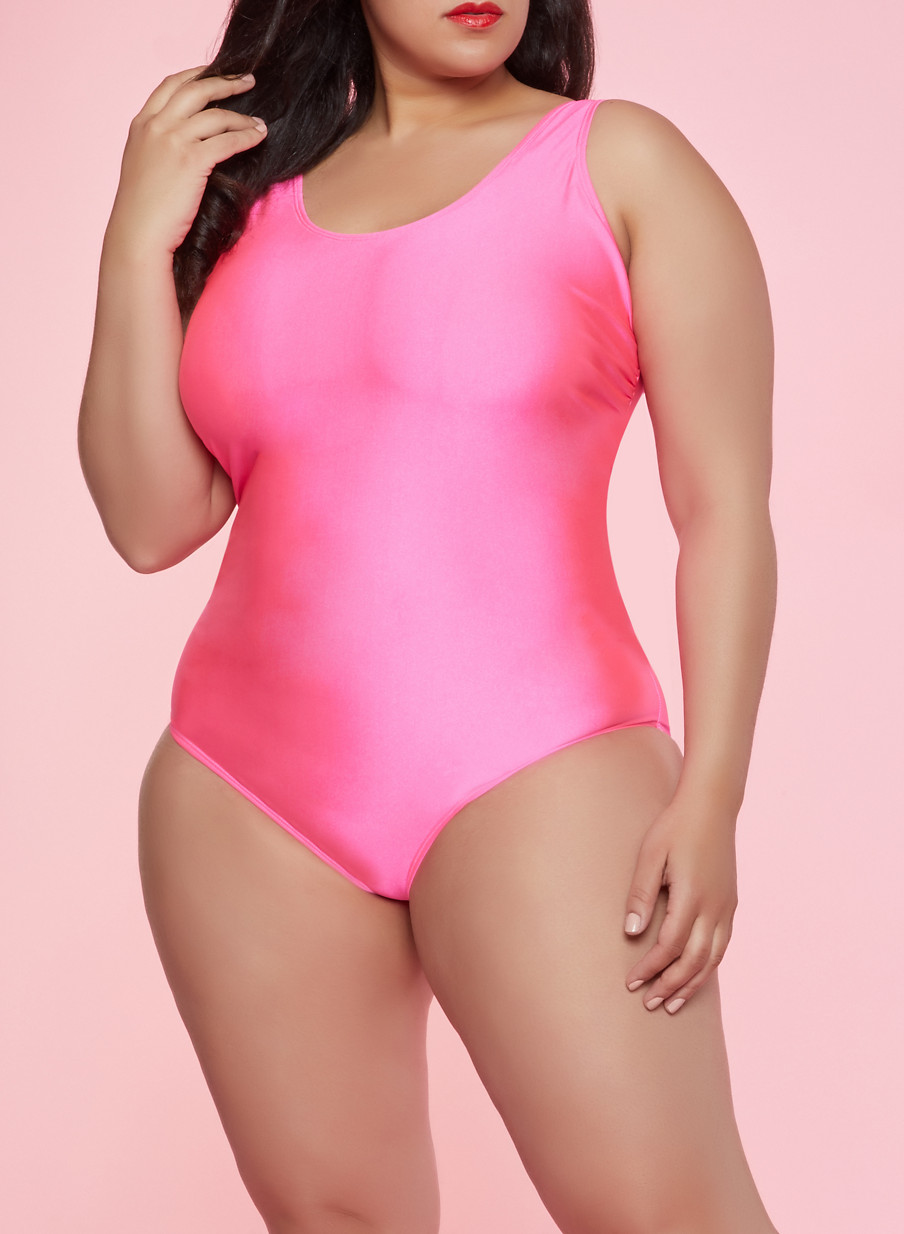 4569f9de74 Plus Size Scoop Neck One Piece Swimsuit - Rainbow