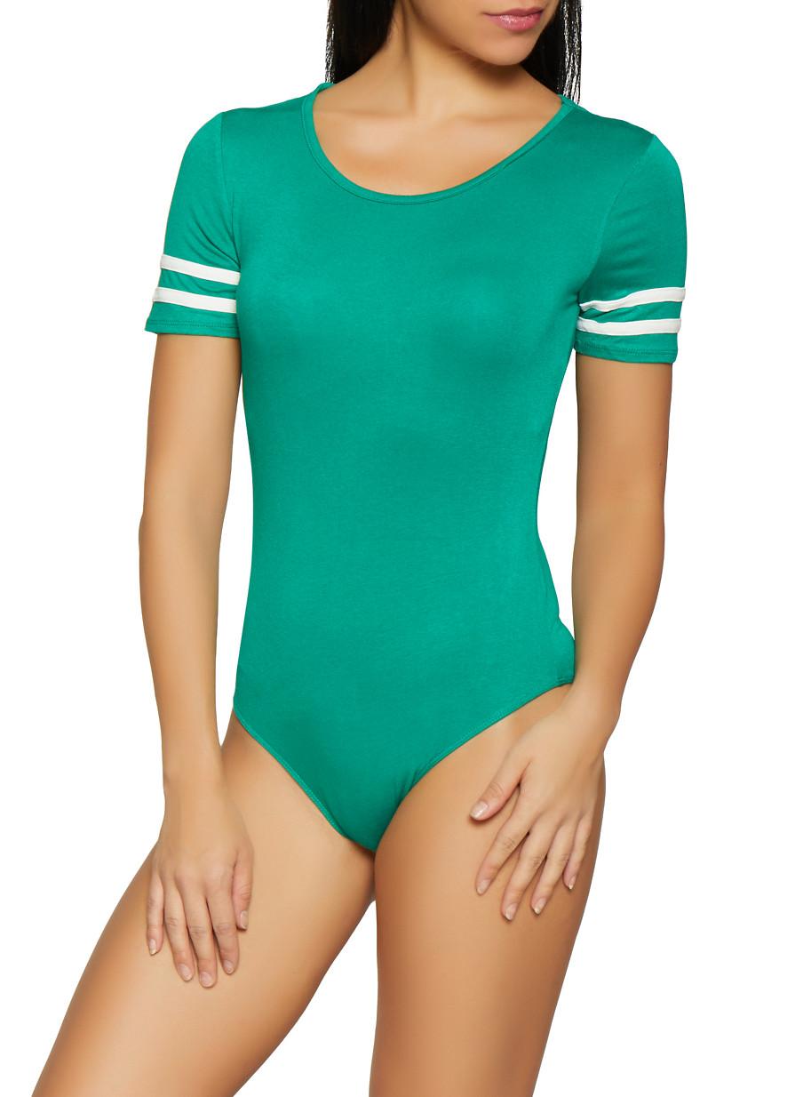 8a7e8f0201 Varsity Stripe Bodysuit - Rainbow