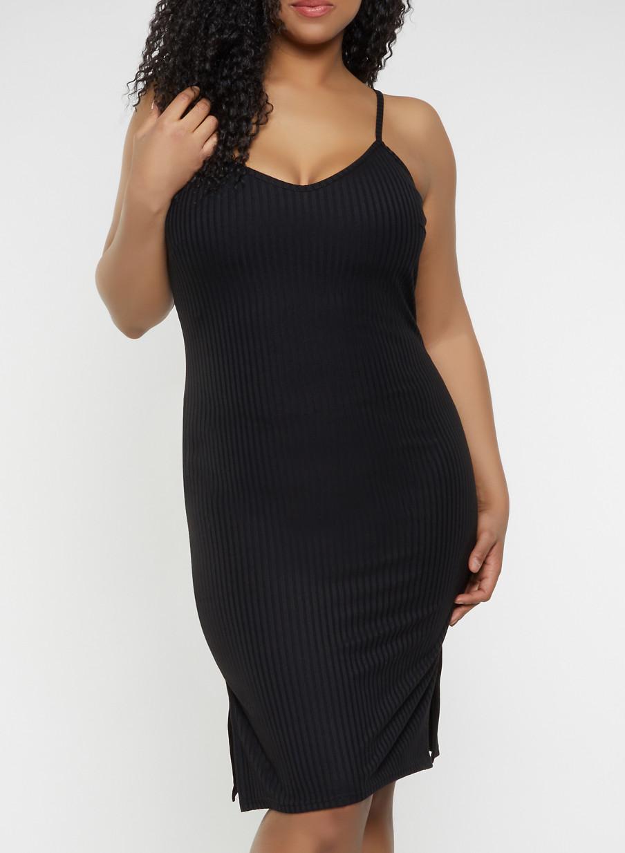 Plus Size V Neck Bodycon Dress - Rainbow
