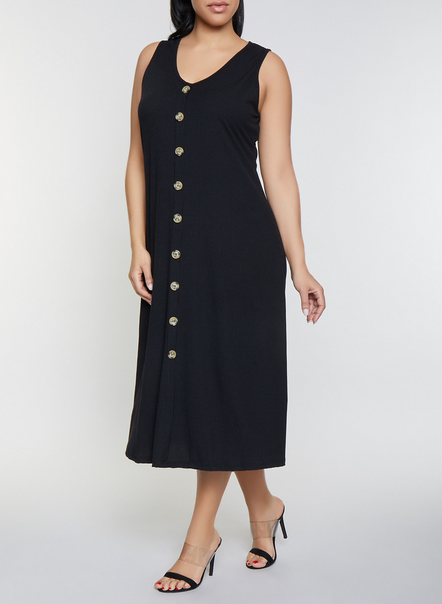 Plus Size Maxi Tank Dress - Rainbow