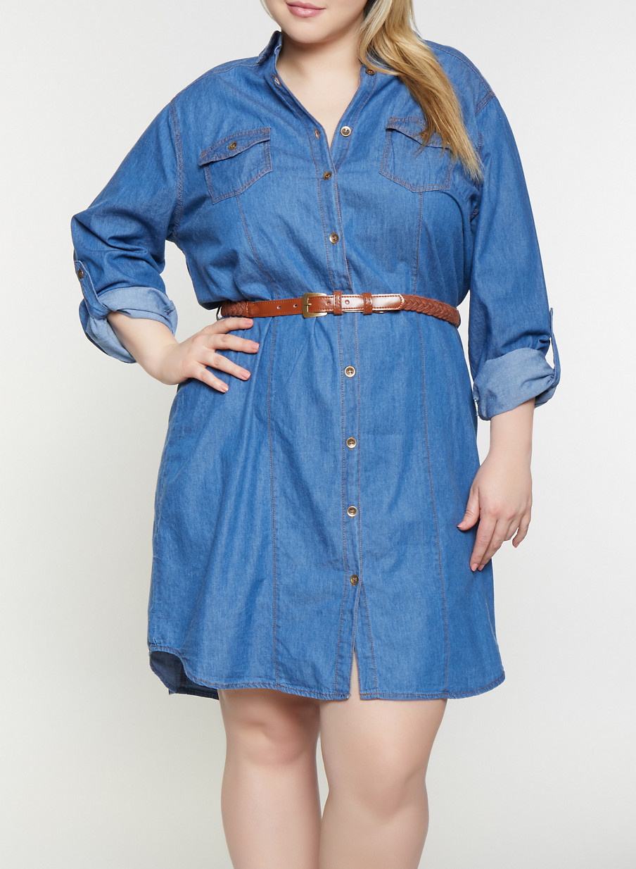 Plus Size Denim Shirt Dress - Rainbow