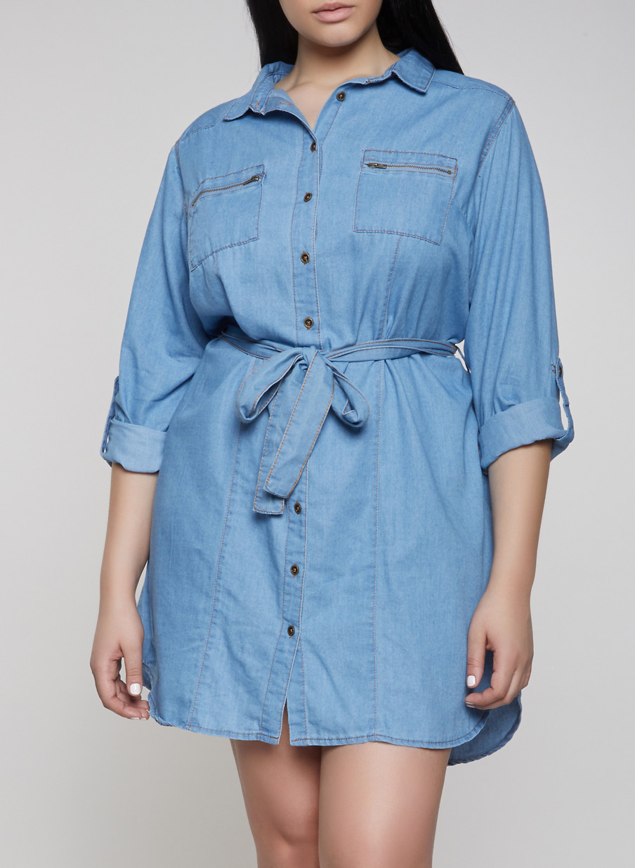 Plus Size Chambray Shirt Dress - Rainbow