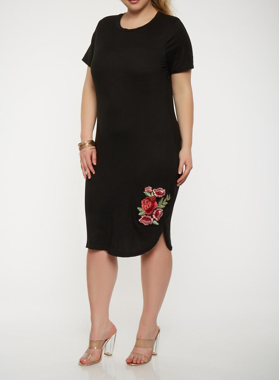 Plus Size Short Sleeve T Shirt Dress With Floral Applique Rainbow
