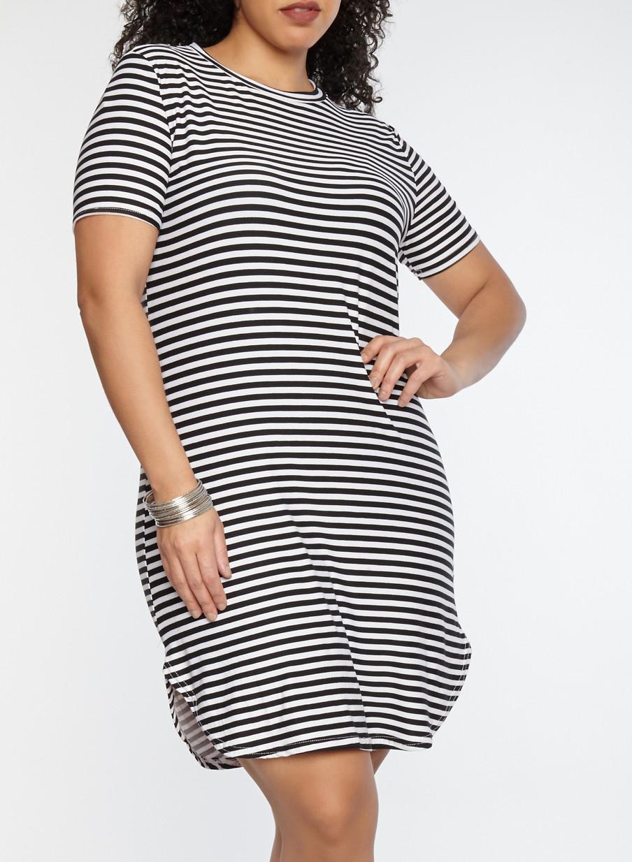 Plus Size Striped T Shirt Dress Rainbow