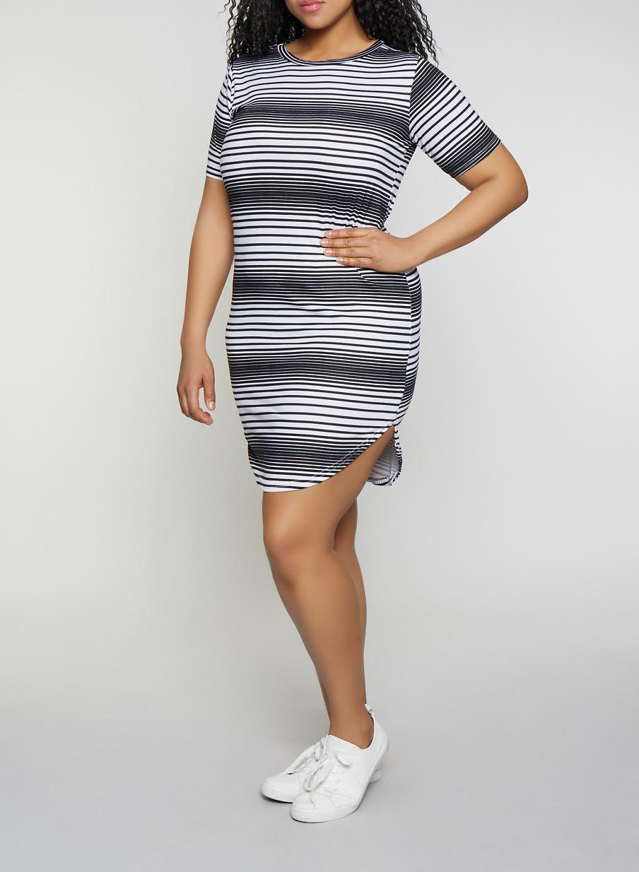 Plus Size Striped T Shirt Dress | 1390038349463 - Rainbow